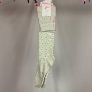 Aerie Silver Sparkle Heart Knit Knee Socks